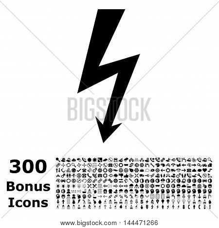 High Voltage icon with 300 bonus icons. Vector illustration style is flat iconic symbols, black color, white background.