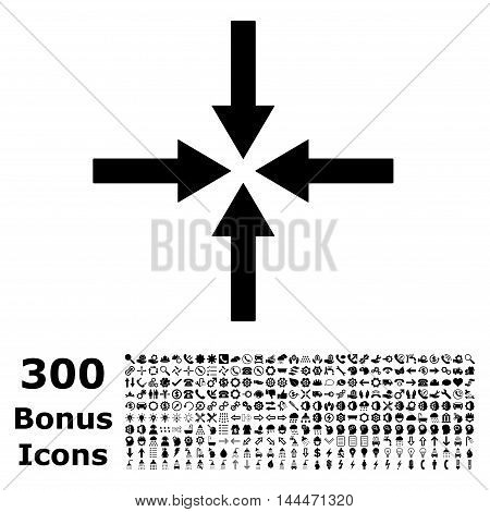 Impact Arrows icon with 300 bonus icons. Vector illustration style is flat iconic symbols, black color, white background.