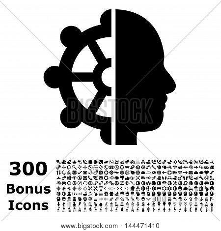 Intellect icon with 300 bonus icons. Vector illustration style is flat iconic symbols, black color, white background.