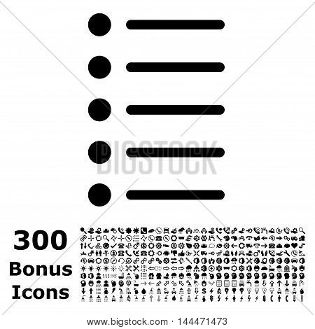 Items icon with 300 bonus icons. Vector illustration style is flat iconic symbols, black color, white background.