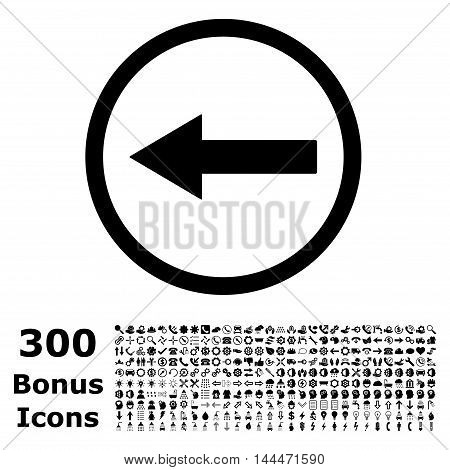 Left Rounded Arrow icon with 300 bonus icons. Vector illustration style is flat iconic symbols, black color, white background.