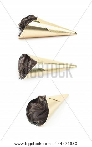 Chocolate confection candy isolated over the white background, set of three different foreshortenings