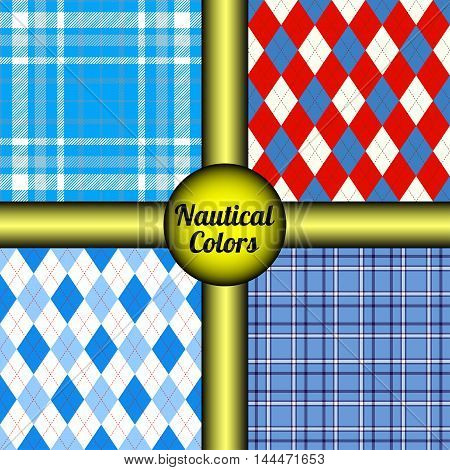Set of 4 seamless patterns for marine look outfit. Nautical style argyle & tartan plaid prints for navy palette textile design, casual wear & water sports uniforms.