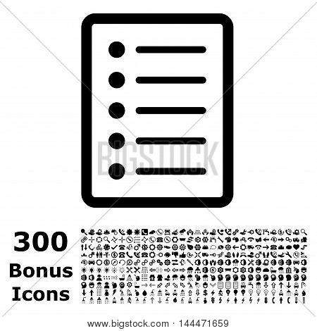List Page icon with 300 bonus icons. Vector illustration style is flat iconic symbols, black color, white background.