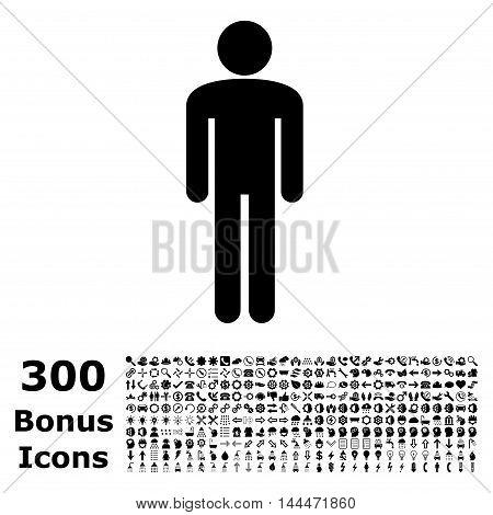 Man icon with 300 bonus icons. Vector illustration style is flat iconic symbols, black color, white background.