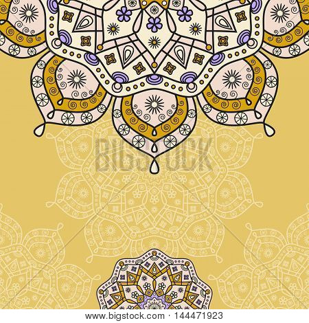 Decorative oriental background frame for greeting & invitation cards. Ornamental design in shades of orange, blue & pale yellow.