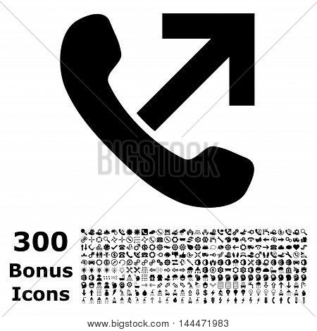 Outgoing Call icon with 300 bonus icons. Vector illustration style is flat iconic symbols, black color, white background.