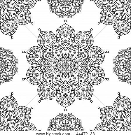 Seamless oriental floral mandala pattern in black & white outline.