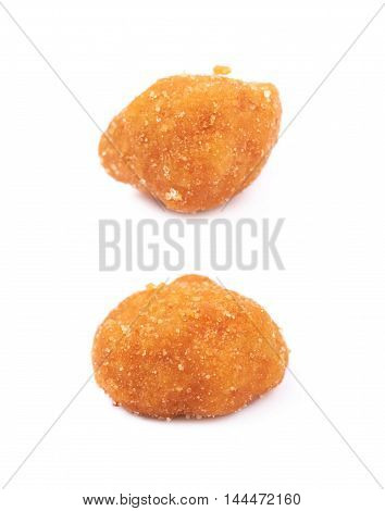 Single breaded peanut isolated over the white background, set of two different foreshortenings