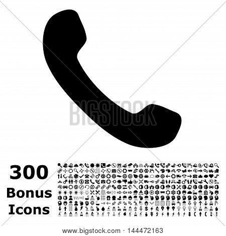 Phone Receiver icon with 300 bonus icons. Vector illustration style is flat iconic symbols, black color, white background.