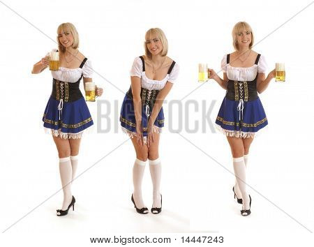 Attraktive Bayerische Frau, isolated on white