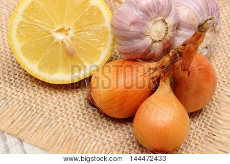 Fresh Onions, Garlic And Lemon, Healthy Nutrition And Strengthening Immunity