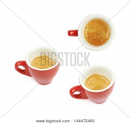 Tiny red ceramic cup filled with the espresso coffee isolated over the white background, set of three different foreshortenings