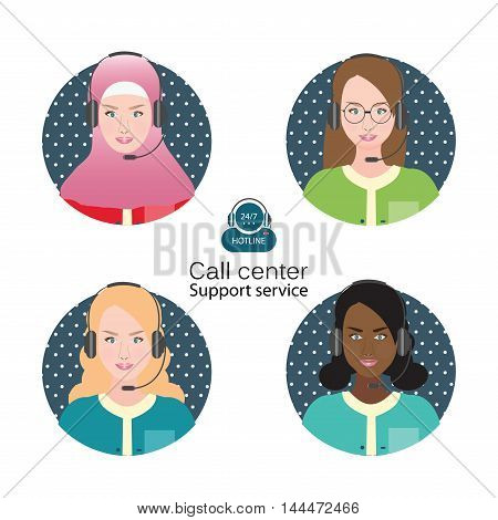 Diverse people of Female customer support operator with headset and smiling Cartoon character business people vector illustration.