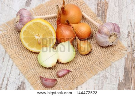 Fresh Onion, Garlic And Lemon, Healthy Nutrition And Strengthening Immunity