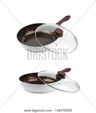 Brand new brown frying pan with a teflon coating and a glass lid over it, composition isolated over the white background, set of two different foreshortenings