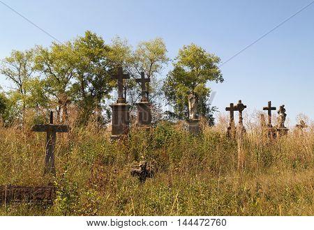 Old polish cemetery in small town Strusiv Ternopil region West Ukraine