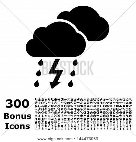 Thunderstorm icon with 300 bonus icons. Vector illustration style is flat iconic symbols, black color, white background.