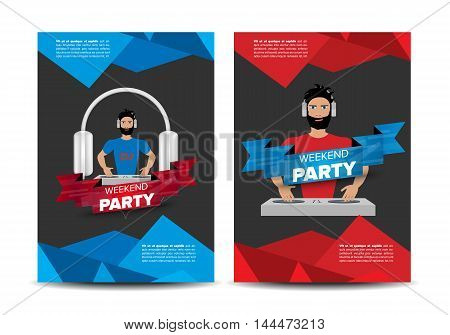 Dance Party Announcement Leaflet with abstract background and headphones