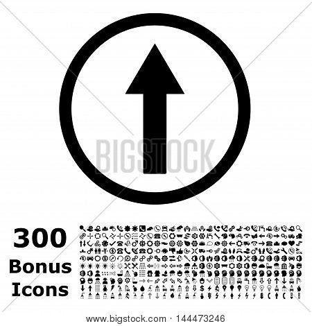 Up Rounded Arrow icon with 300 bonus icons. Vector illustration style is flat iconic symbols, black color, white background.