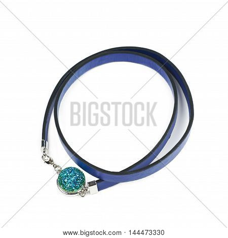 Blue leather necklace with a semiprecious stone isolated over the white background