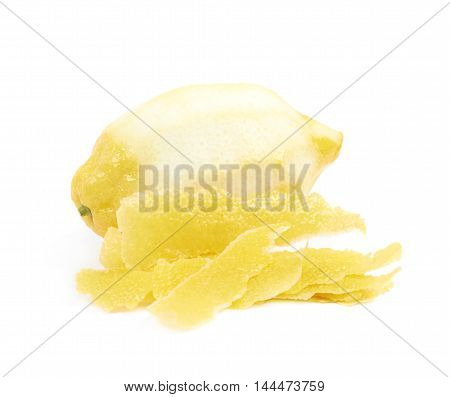 Lemon fruit with a zest taken on it, composition isolated over the white background