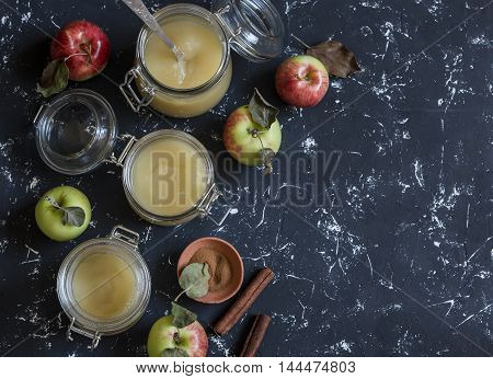 Homemade apple sauce in glass jars on dark background. Top view free space for text. Delicious seasoning for meat