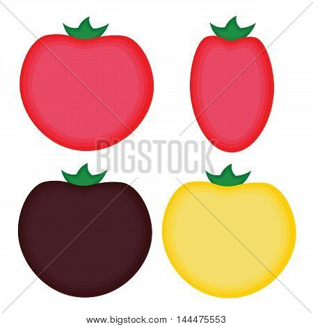 Four simple cartoon tomatoes of different varieties.