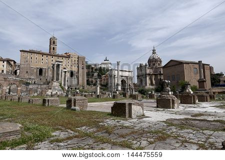view of forum roman in rome italy