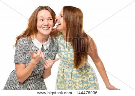 Beautiful Young Girlfriends Gossiping Over White Background