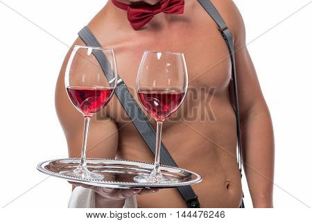 Waiter Stripper With The Wine Glasses On A Tray Isolated