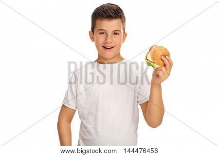 Little boy having a sandwich isolated on white background