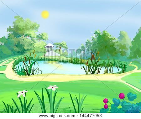 Digital Painting Illustration of a small arbor near a pond in a summer park. Cartoon Style Character Fairy Tale Story Background.