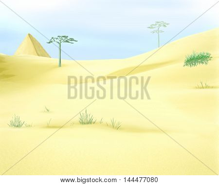 Digital Painting Illustration of a yellow desert sands under a blue sky. Cartoon Style Character Fairy Tale Story Background.