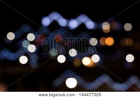 Illuminations on the houses in the ski resort of Bukovel. Ukrainian Carpathians.