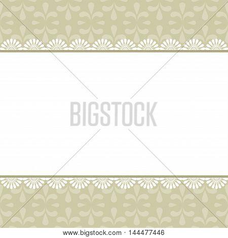 Elegant vintage frame with damask pattern. Vector.