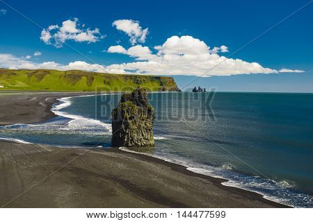 View of Su�°urland beach in Iceland