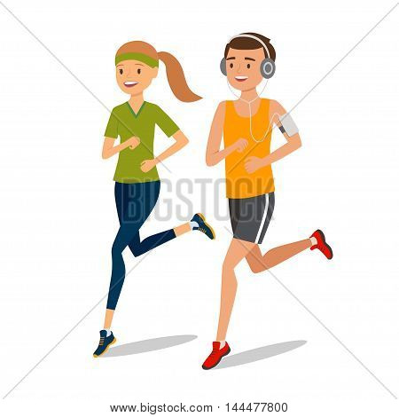 Urban sports. Couple running or jogging for fitness. Jogger listening to training music on smartphone. Vector illustration