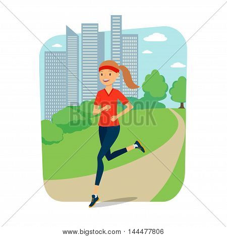 Full length of a young woman jogging with city in background. Vector illustration