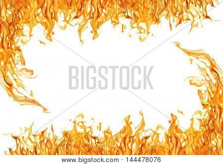 orange flame frame isolated on white background