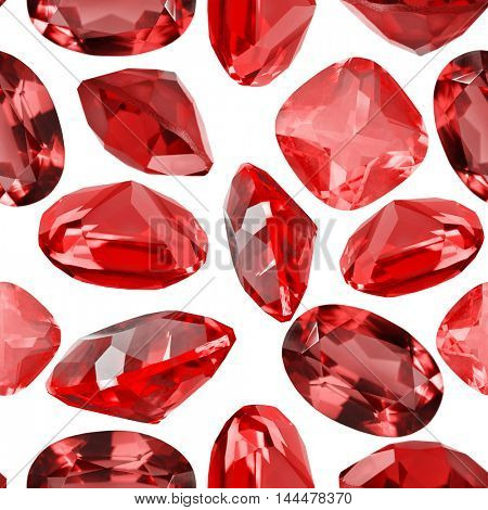seamless background from isolated red ruby gems