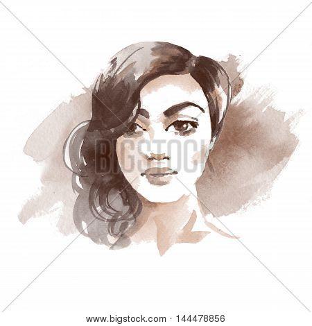 Brunette girl. Watercolor sketch 1. Female face