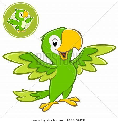Vector illustration of a cartoon green parrot with separate badge