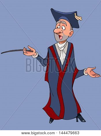 cartoon male teacher in gown and hat