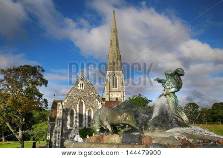 St. Alban's church (Den engelske kirke) and fountain in Copenhagen Denmark