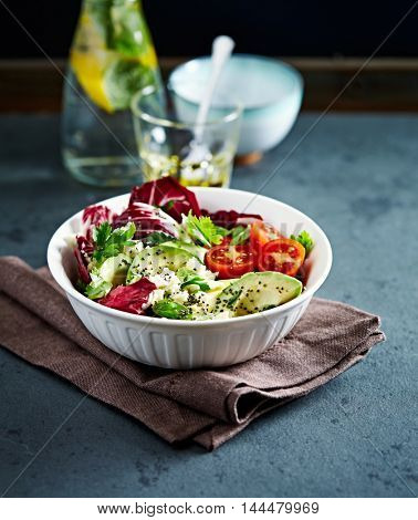 Avocado, Cherry Tomato and Radicchio Salad with Feta and Chia Seeds