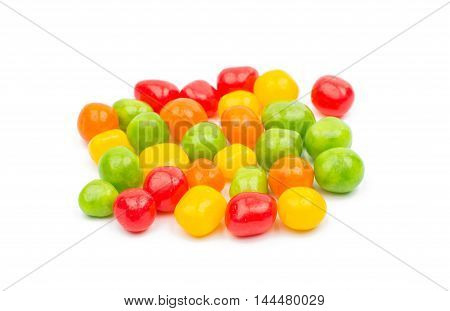 candy colored jelly beans on a white background