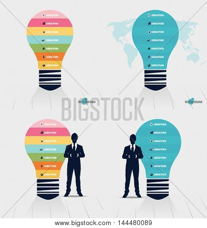 Infographic design template. Light bulb with colorful infographics paper template, vector illustration