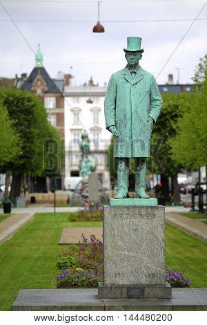 Statue of Carl Frederik Tietgen in Toldbodgade street Copenhagen Denmark