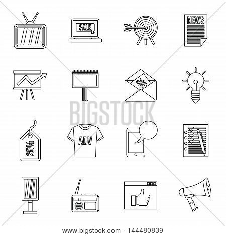 Advertisement icons set in outline style. Marketing set collection. vector illustration